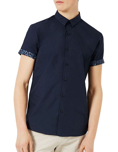 Topman Turn-Up Sport Shirt-NAVY BLUE-Medium
