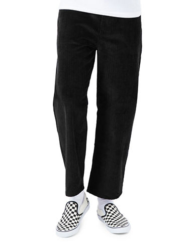 Topman Corduroy Cropped Trousers-BLACK-34