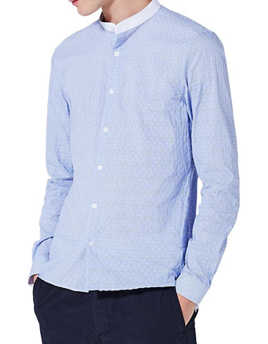 Topman Stripe Slim Smart Shirt-BLUE-X-Small