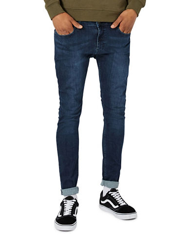 Topman Washed Spray-On Skinny Jeans-BLUE-36 Long