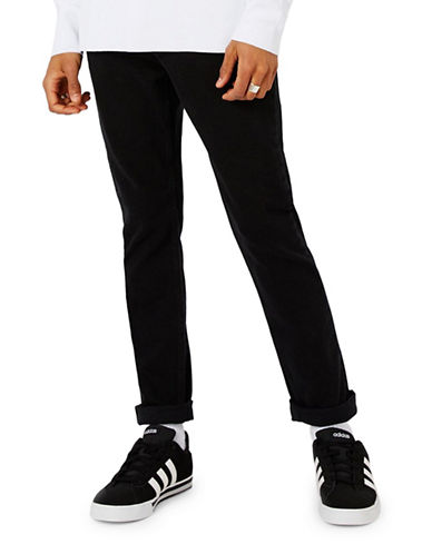 Topman Freeway Washed Tapered Jeans-BLACK-28 Short