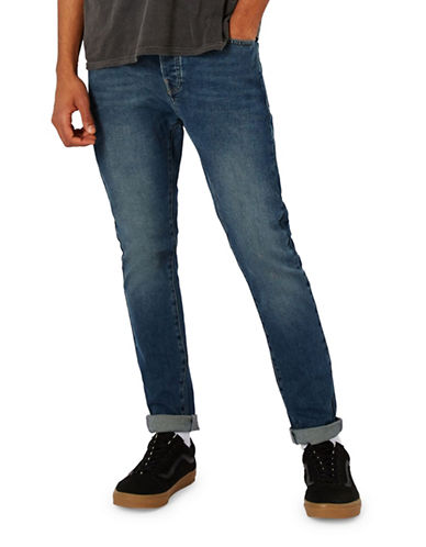 Topman Butler Stretch Tapered Jeans-BLUE-28 Short