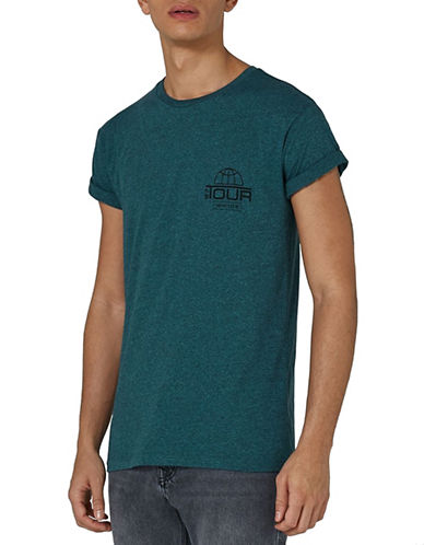 Topman Tour Salt-and-Pepper T-Shirt-GREEN-Medium