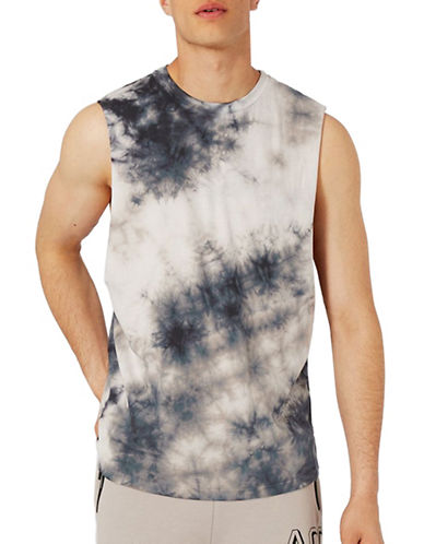 Topman Batik Wash Oversized Tank Top-BLACK-Large 89319364_BLACK_Large