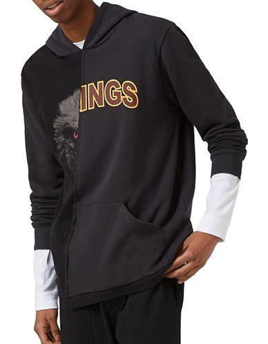 Topman Eagle Kings Print Spliced Hoodie-BLACK-X-Small 89048869_BLACK_X-Small