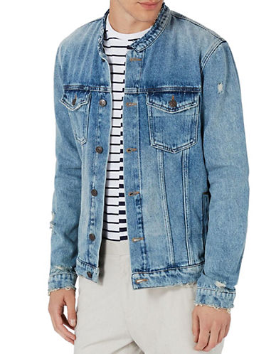 Topman Collarless Denim Jacket-BLUE-Small