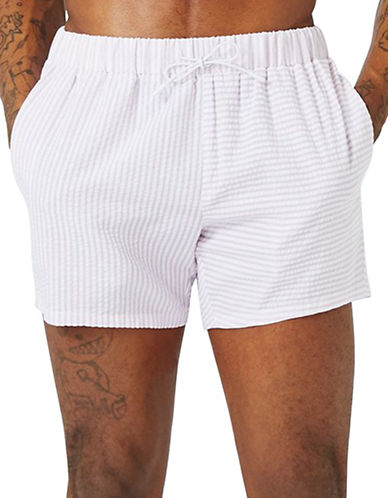 Topman Stripe Spliced Swim Shorts-WHITE-X-Small