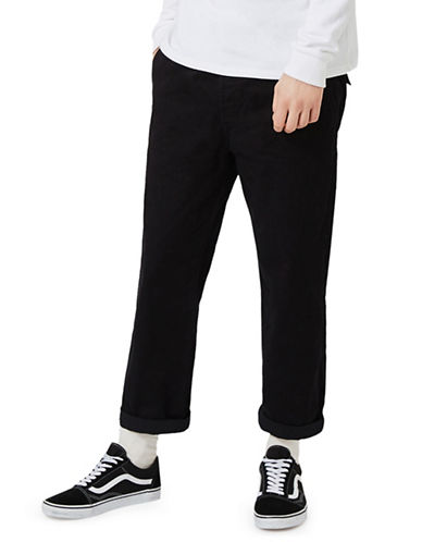 Topman Cropped Wide Leg Chinos-BLACK-34 Long