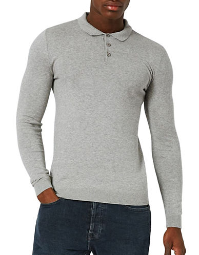 Topman Muscle Fit Marl Knitted Polo-GREY-Medium