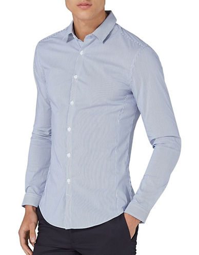 Topman Striped Muscle Fit Shirt-BLUE-X-Large