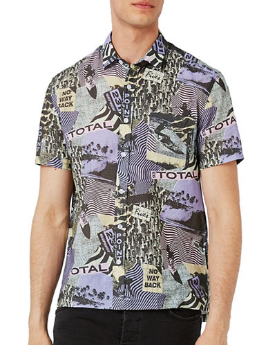 Topman Graphic-Printed Sport Shirt-MULTI-COLOURED-Medium