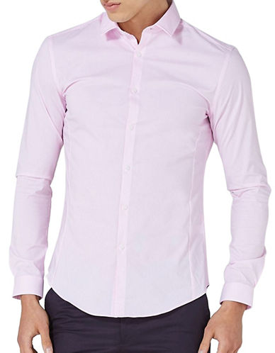 Topman Striped Muscle Fit Shirt-PINK-Medium