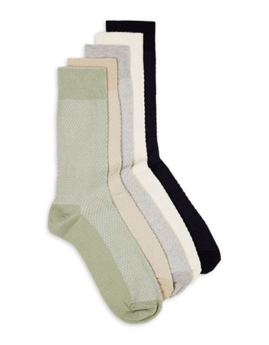 Topman Five-Pack Assorted Waffle Textured Socks-MULTI-COLOURED-One Size