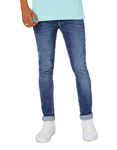 Topman Spray-On Skinny Jeans-DARK BLUE-34 Long