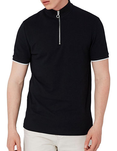 Topman Zip Neck Tipped Polo-BLACK-Small