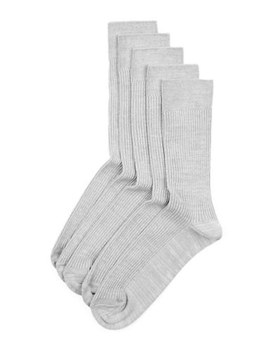 Topman Mens Five-Pack Ribbed Socks-LIGHT GREY-One Size