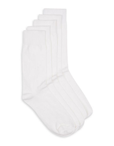 Topman Plain Five-Pack Socks-WHITE-One Size