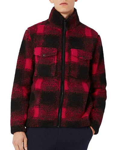 Topman Check Borg Jacket-RED-Medium