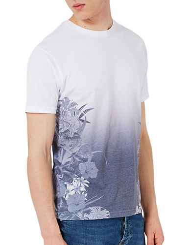 Topman Floral Printed T-Shirt-WHITE-X-Large 89350915_WHITE_X-Large