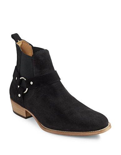 Topman East Harness Suede Boots-BLACK-EU 41/US 8