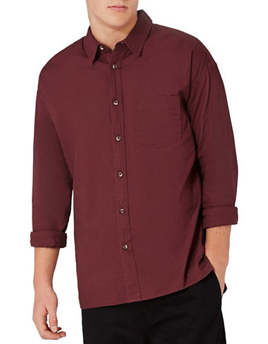 Topman Relaxed Fit Oxford Shirt-BURGUNDY-Medium