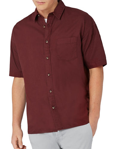 Topman Short Sleeve Oxford Shirt-BURGUNDY-Large