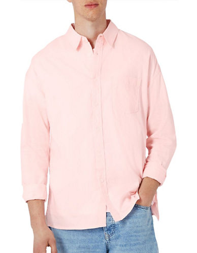 Topman Relaxed Fit Oxford Shirt-PINK-X-Small
