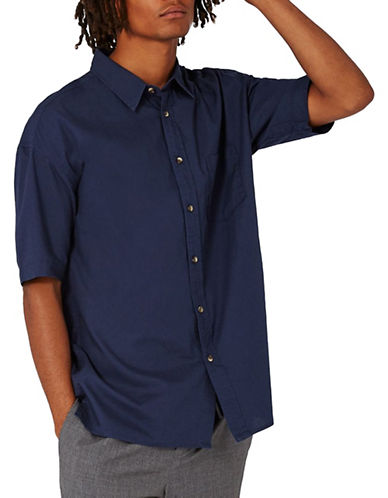 Topman Short Sleeve Oxford Shirt-BLUE-Large