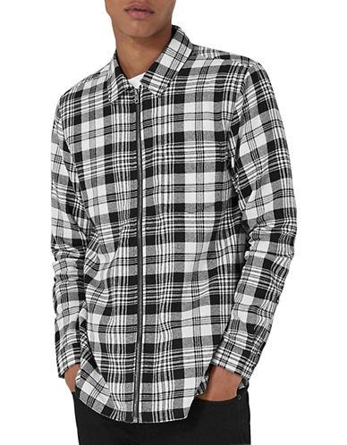 Topman Check Overshirt-BROWN-Small