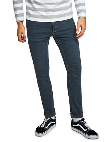 Topman Stretch Skinny Jeans-BLUE-32 Long