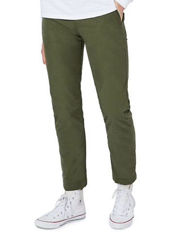 Topman Canvas Standard Fit Chinos-KHAKI/OLIVE-32