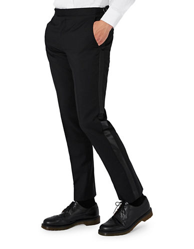 Topman CHARLIE CASELY-HAYFORD Wool-Mohair Occasion Suit Trousers-BLACK-32