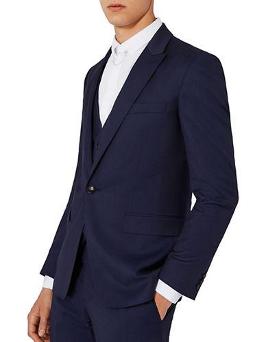 Topman CHARLIE CASELY-HAYFORD Wool Twill Skinny Wedding Suit Jacket-BLUE-42