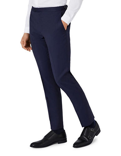 Topman CHARLIE CASELY-HAYFORD Wool Twill Skinny Wedding Suit Trousers-BLUE-32