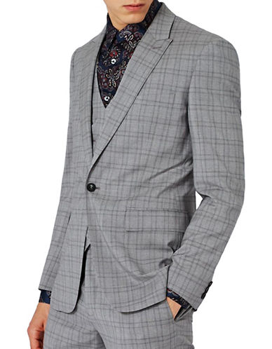 Topman CHARLIE CASELY-HAYFORD Wool Check Skinny Wedding Suit Jacket-LIGHT GREY-36