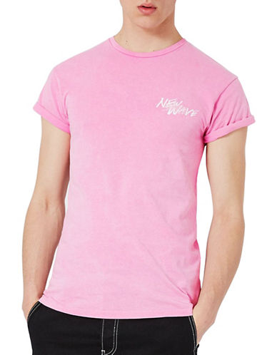 Topman Embroidered Muscle Fit Roller T-Shirt-PINK-Small