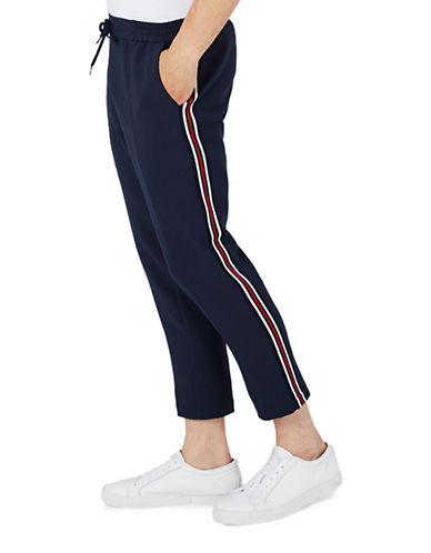 Topman Side Stripe Cropped Joggers-BLUE-32