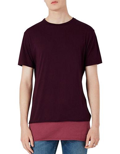 Topman Longline Contrast Hem T-Shirt-GREY-X-Large