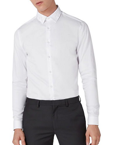 Topman Premium Slim Fit Embroidered Sport Shirt-WHITE-X-Large