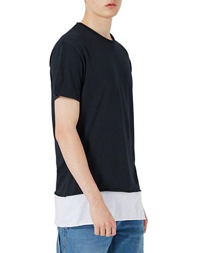 Topman Longline Contrast Hem T-Shirt-DARK BLUE-Large