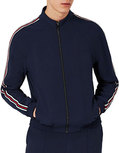Topman Striped Track Jacket-BLUE-Medium 89365278_BLUE_Medium