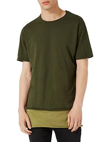 Topman Longline Contrast Hem T-Shirt-KHAKI/OLIVE-X-Large