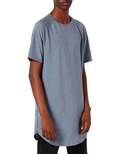 Topman Nathan Zip Longline T-Shirt-BLUE-Small
