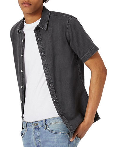 Topman Denim Muscle Fit Sport Shirt-GREY-Medium