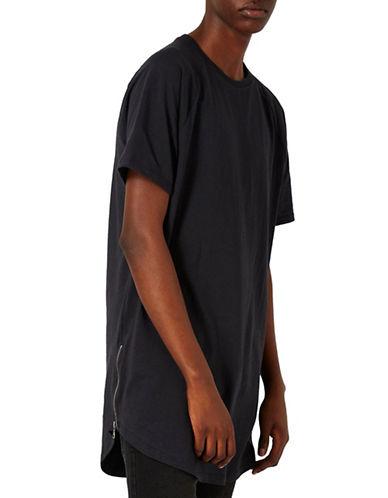 Topman Nathan Zip Longline T-Shirt-BLACK-Large