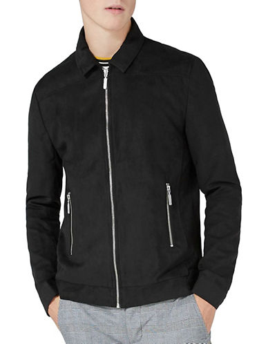 Topman Classic Fit Harrington Jacket-BLACK-X-Small