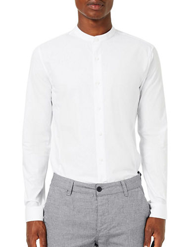 Topman Stand Collar Smart Shirt-WHITE-Medium