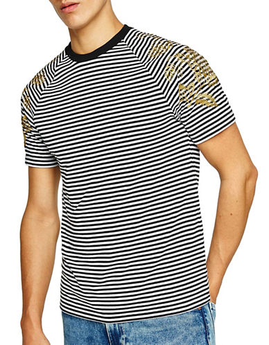 Topman Muscle Fit Baroque Stripe T-Shirt-BLACK/WHITE-X-Large 90023581_BLACK/WHITE_X-Large