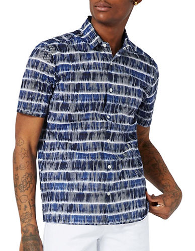 Topman Tile-Printed Shirt-BLUE-X-Small