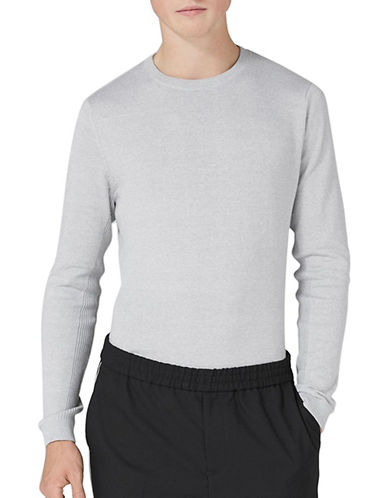 Topman Ribbed Pullover-GREY-Medium